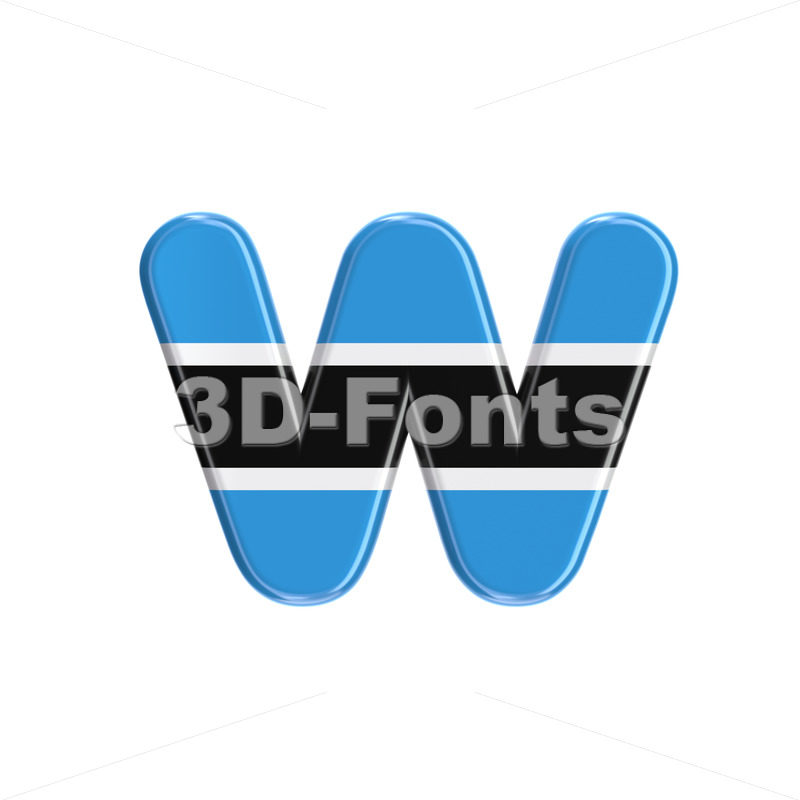 Batswana alphabet letter W - Lower-case 3d character - 3D Fonts Collections | Top Quality Letters, Numbers and Symbols !