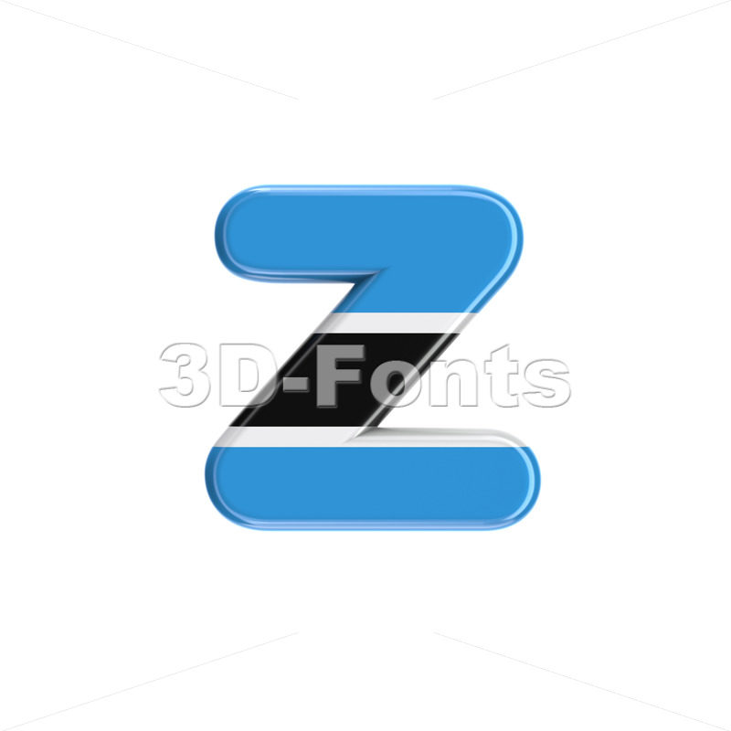 Botswana flag 3d character Z - Lower-case 3d font - 3D Fonts Collections | Top Quality Letters, Numbers and Symbols !