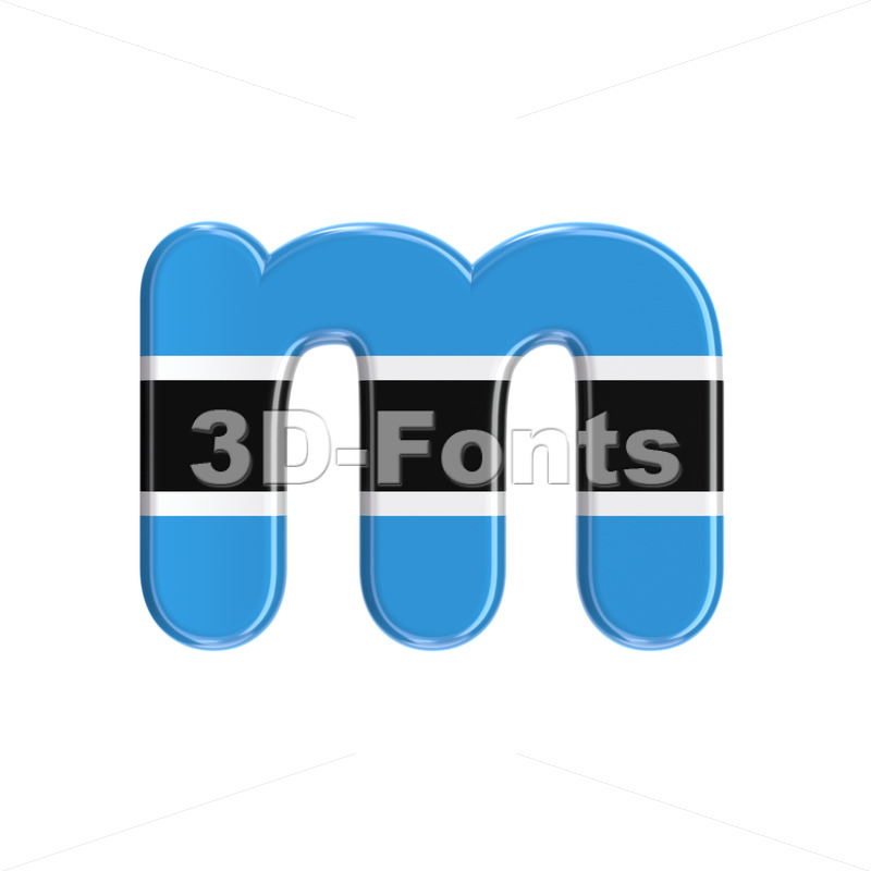 Botswana flag 3d font M - Lowercase 3d letter - 3D Fonts Collections | Top Quality Letters, Numbers and Symbols !