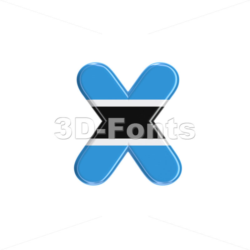 Botswana flag 3d font X - Small 3d letter - 3D Fonts Collections | Top Quality Letters, Numbers and Symbols !