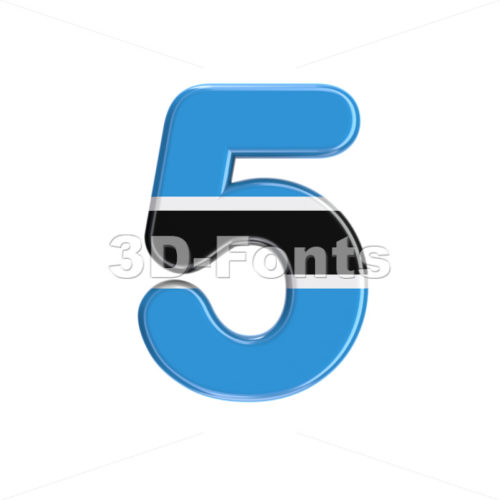 Botswana flag digit 5 -  3d number - 3D Fonts Collections | Top Quality Letters, Numbers and Symbols !
