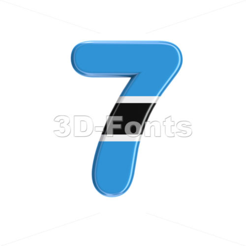 Botswana flag digit 7 -  3d number - 3D Fonts Collections | Top Quality Letters, Numbers and Symbols !