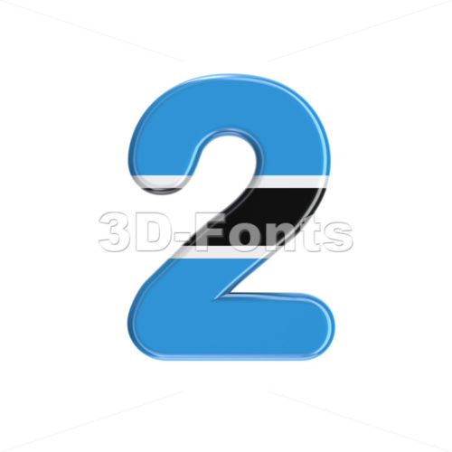 Botswana flag number 2 -  3d digit - 3D Fonts Collections | Top Quality Letters, Numbers and Symbols !