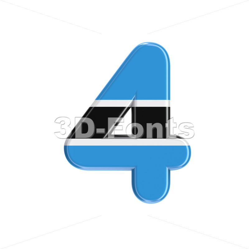 Botswana flag number 4 -  3d digit - 3D Fonts Collections   Top Quality Letters, Numbers and Symbols !