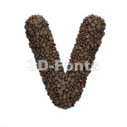 Capital Coffee letter V - Upper-case 3d character - 3D Fonts Collections | Top Quality Letters, Numbers and Symbols !