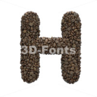 Coffee 3d letter H - Upper-case 3d character - 3D Fonts Collections   Top Quality Letters, Numbers and Symbols !