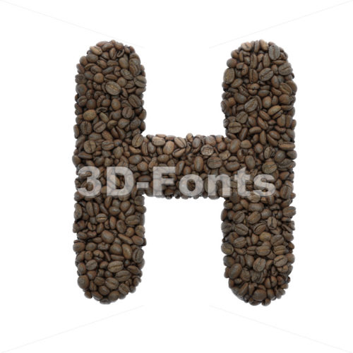 Coffee 3d letter H – Upper-case 3d character – 3D Fonts Collections | Top Quality Letters, Numbers and Symbols !