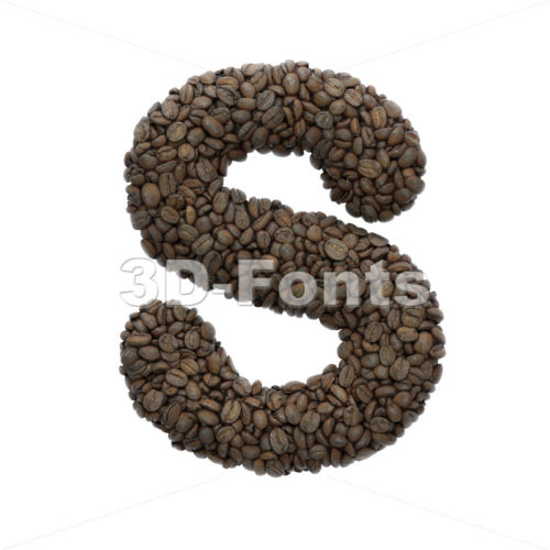 Coffee font S - Uppercase 3d letter - 3D Fonts Collections | Top Quality Letters, Numbers and Symbols !