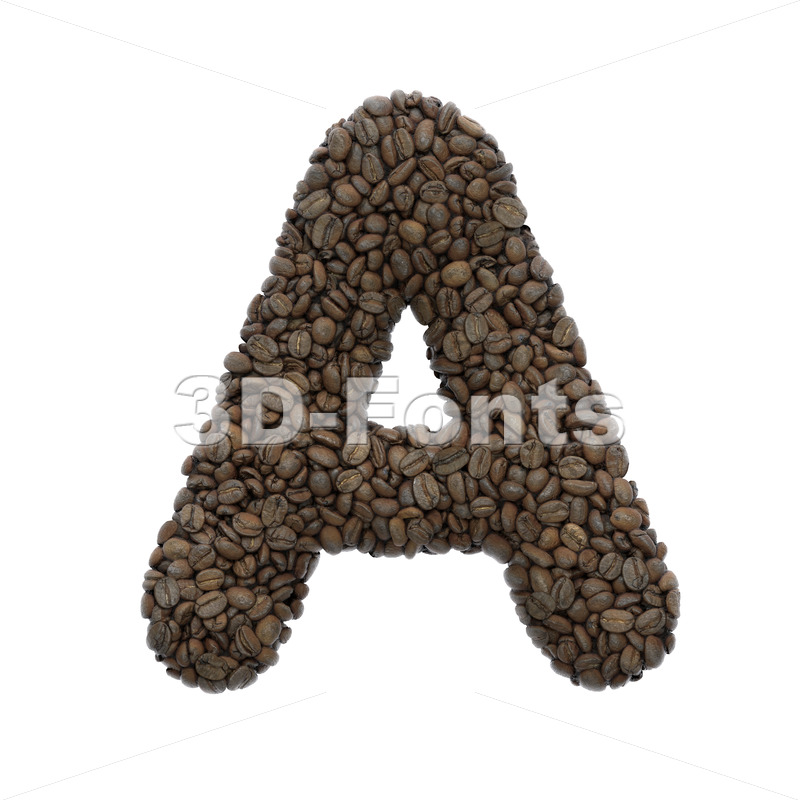 Coffee letter A - Capital 3d character - 3D Fonts Collections | Top Quality Letters, Numbers and Symbols !