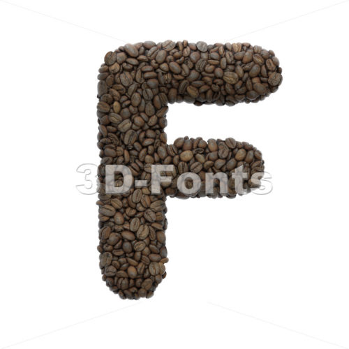 Coffee letter F - Upper-case 3d font - 3D Fonts Collections | Top Quality Letters, Numbers and Symbols !