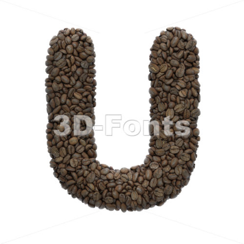 Coffee letter U - Capital 3d font - 3D Fonts Collections | Top Quality Letters, Numbers and Symbols !