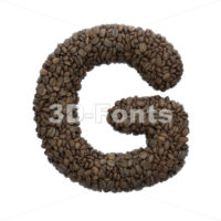 Uppercase Coffee character G - Capital 3d font - 3D Fonts Collections   Top Quality Letters, Numbers and Symbols !