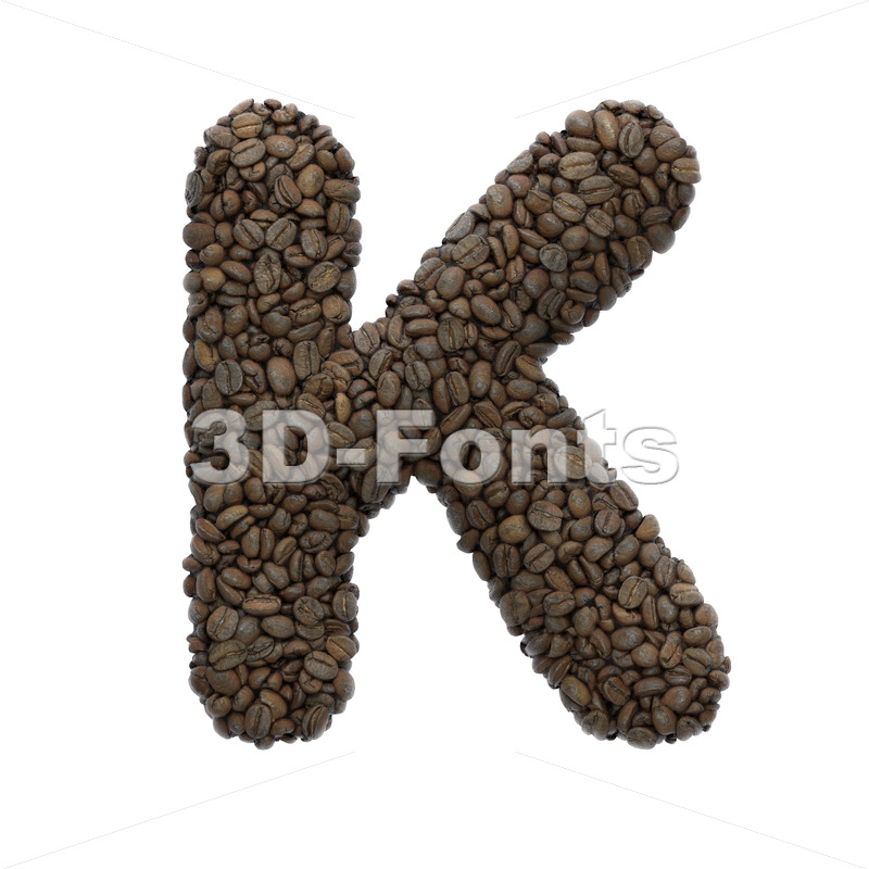Uppercase Coffee letter K - Capital 3d font - 3D Fonts Collections | Top Quality Letters, Numbers and Symbols !