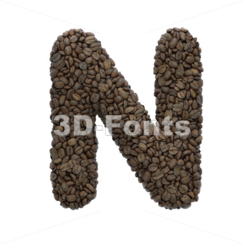 coffee font N - Capital 3d letter - 3D Fonts Collections | Top Quality Letters, Numbers and Symbols !