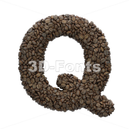 coffee font Q - Upper-case 3d character - 3D Fonts Collections   Top Quality Letters, Numbers and Symbols !