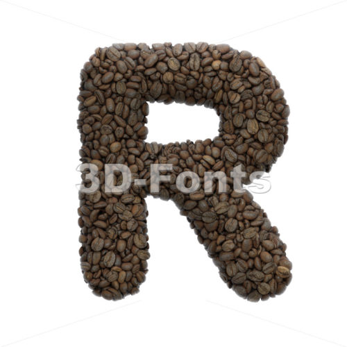 coffee letter R - Uppercase 3d font - 3D Fonts Collections | Top Quality Letters, Numbers and Symbols !