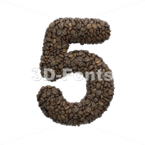 Coffee digit 5 –  3d number – 3D Fonts Collections | Top Quality Letters, Numbers and Symbols !