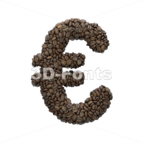 Coffee euro currency sign – 3d Business symbol – 3D Fonts Collections | Top Quality Letters, Numbers and Symbols !