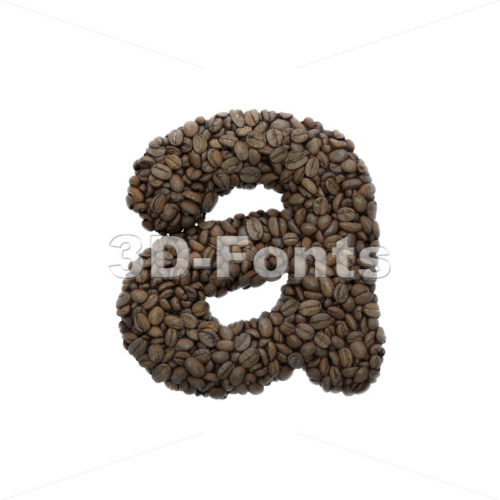 Coffee font A - Lowercase 3d letter - 3D Fonts Collections | Top Quality Letters, Numbers and Symbols !