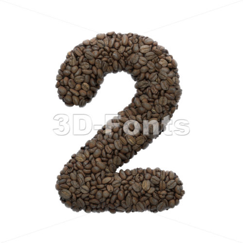 Coffee number 2 -  3d digit - 3D Fonts Collections | Top Quality Letters, Numbers and Symbols !