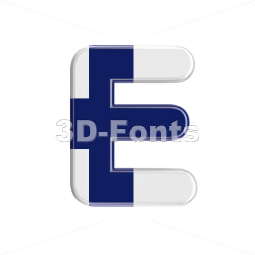 Finland  character E - Capital 3d letter - 3D Fonts Collections | Top Quality Letters, Numbers and Symbols !