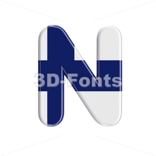 Finland  font N – Capital 3d letter – 3D Fonts Collections | Top Quality Letters, Numbers and Symbols !