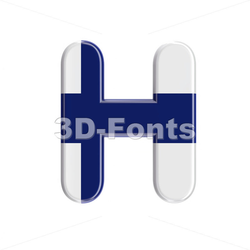 Flag of Finland 3d letter H - Upper-case 3d character - 3D Fonts Collections   Top Quality Letters, Numbers and Symbols !