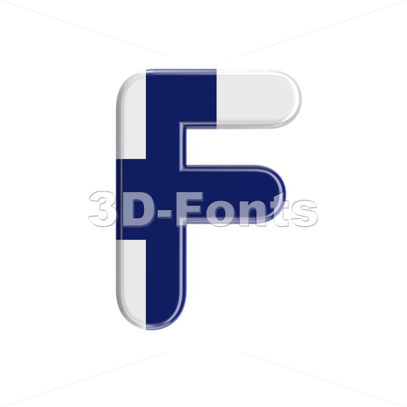 Flag of Finland letter F – Upper-case 3d font – 3D Fonts Collections | Top Quality Letters, Numbers and Symbols !