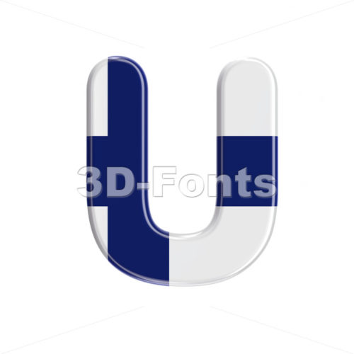 Flag of Finland letter U - Capital 3d font - 3D Fonts Collections | Top Quality Letters, Numbers and Symbols !