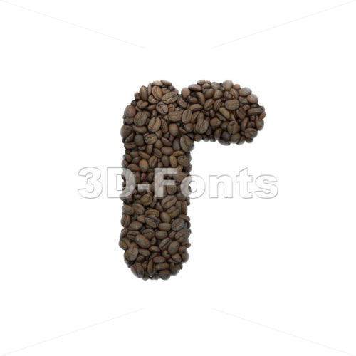 Small Coffee character R - Lower-case 3d letter - 3D Fonts Collections | Top Quality Letters, Numbers and Symbols !