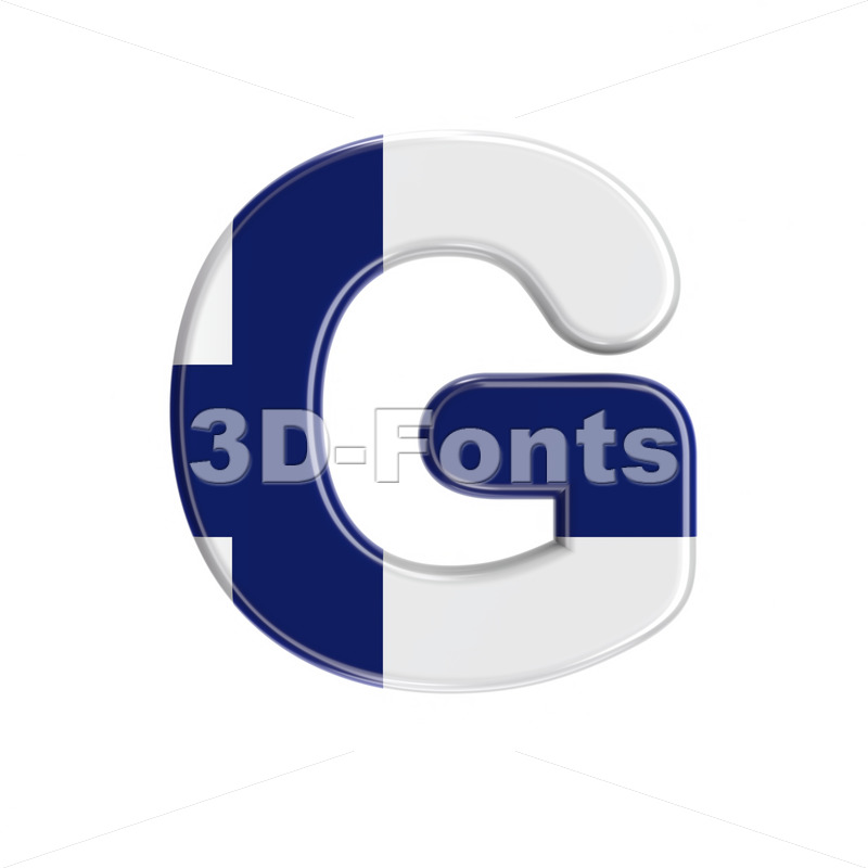 Uppercase Flag of Finland character G – Capital 3d font – 3D Fonts Collections | Top Quality Letters, Numbers and Symbols !