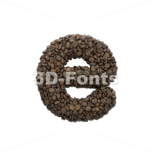 coffee 3d character E - Lower-case 3d letter - 3D Fonts Collections | Top Quality Letters, Numbers and Symbols !