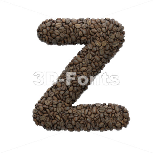 coffee alphabet letter Z - Upper-case 3d font - 3D Fonts Collections | Top Quality Letters, Numbers and Symbols !