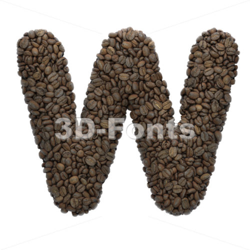 coffee beans font W - Capital 3d letter - 3D Fonts Collections | Top Quality Letters, Numbers and Symbols !