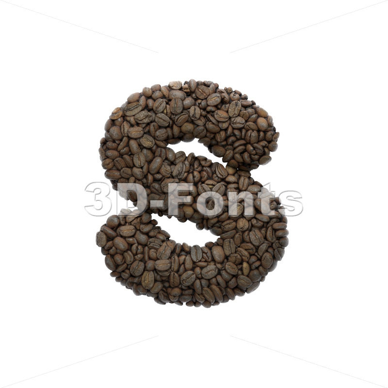 coffee beans letter S - Lowercase 3d font - 3D Fonts Collections | Top Quality Letters, Numbers and Symbols !