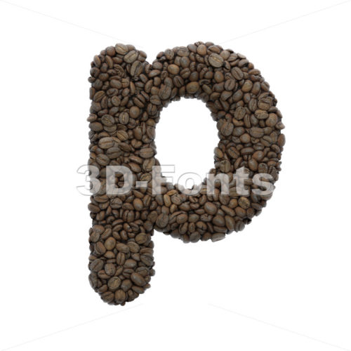 coffee character P - Lowercase 3d font - 3D Fonts Collections | Top Quality Letters, Numbers and Symbols !