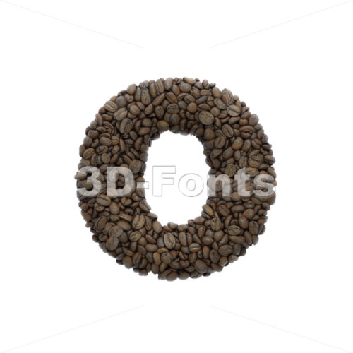 coffee font O - Small 3d letter - 3D Fonts Collections | Top Quality Letters, Numbers and Symbols !