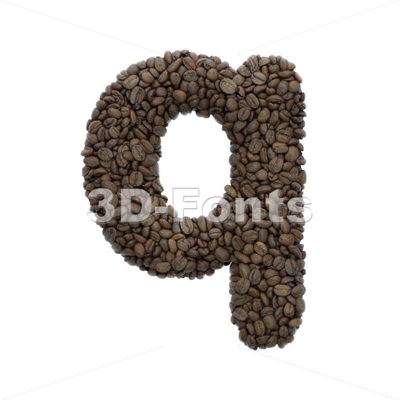 roasted beans alphabet font Q - Lower-case 3d letter - 3D Fonts Collections | Top Quality Letters, Numbers and Symbols !
