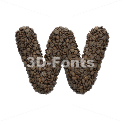 roasted beans alphabet letter W - Lower-case 3d character - 3D Fonts Collections | Top Quality Letters, Numbers and Symbols !