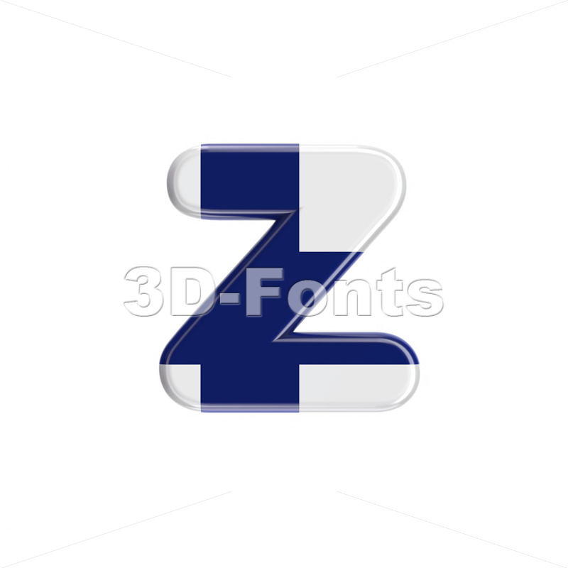 Finland  3d character Z – Lower-case 3d font – 3D Fonts Collections | Top Quality Letters, Numbers and Symbols !