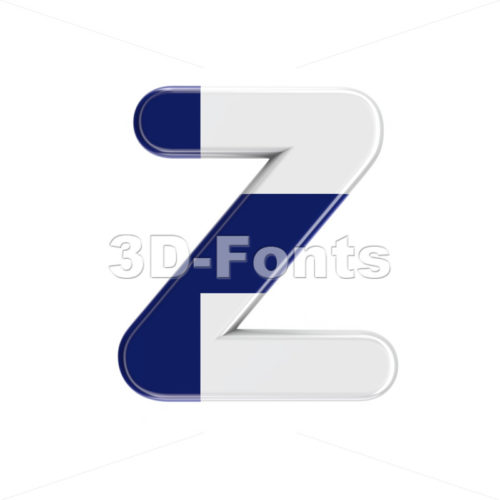 Finland  alphabet letter Z - Upper-case 3d font - 3D Fonts Collections | Top Quality Letters, Numbers and Symbols !