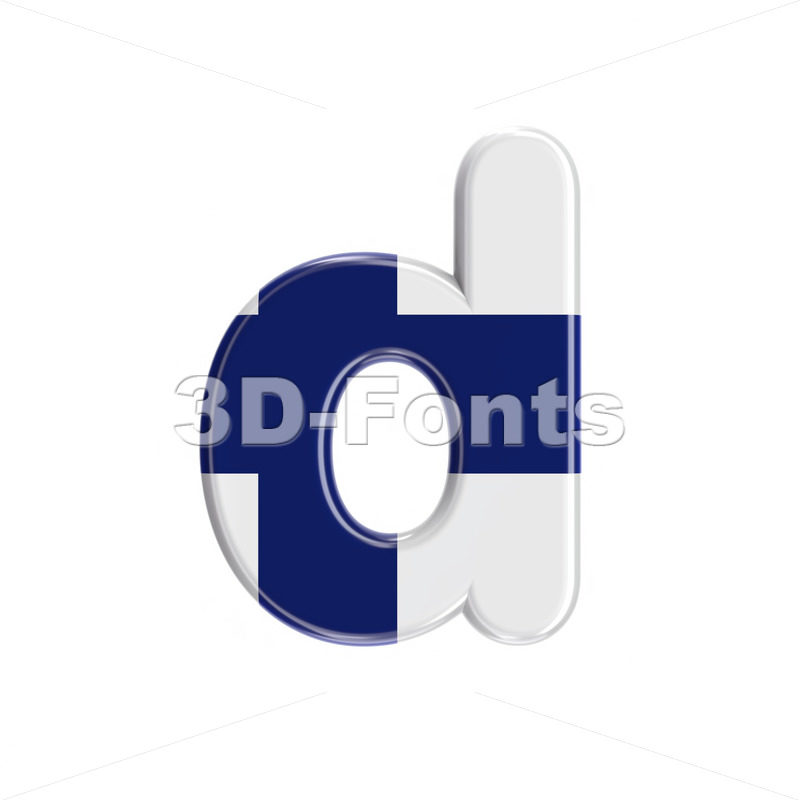 Finnish alphabet letter D - Lowercase 3d font - 3D Fonts Collections | Top Quality Letters, Numbers and Symbols !