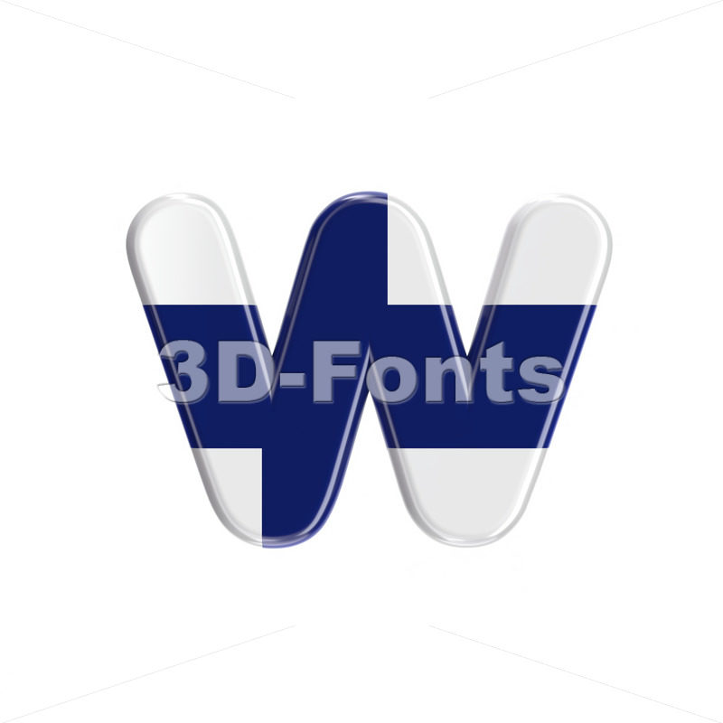 Finnish alphabet letter W - Lower-case 3d character - 3D Fonts Collections | Top Quality Letters, Numbers and Symbols !