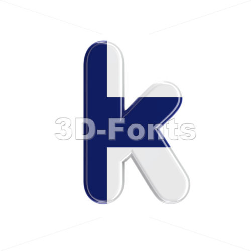 Lower-case finnish flag character K - Small 3d letter - 3D Fonts Collections | Top Quality Letters, Numbers and Symbols !