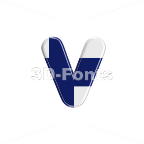 Lowercase Flag of Finland font V - Small 3d letter - 3D Fonts Collections | Top Quality Letters, Numbers and Symbols !