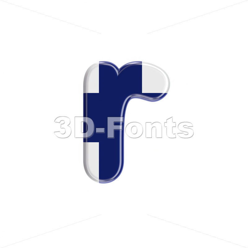 Small Flag of Finland character R - Lower-case 3d letter - 3D Fonts Collections   Top Quality Letters, Numbers and Symbols !