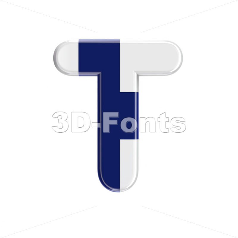 finnish flag character T - Uppercase 3d letter - 3D Fonts Collections | Top Quality Letters, Numbers and Symbols !
