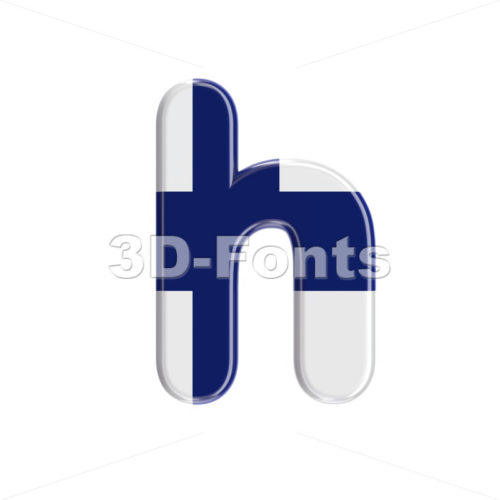 finnish flag font H - Lower-case 3d letter - 3D Fonts Collections | Top Quality Letters, Numbers and Symbols !