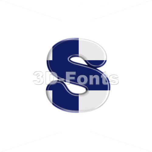 finnish flag letter S - Lowercase 3d font - 3D Fonts Collections | Top Quality Letters, Numbers and Symbols !