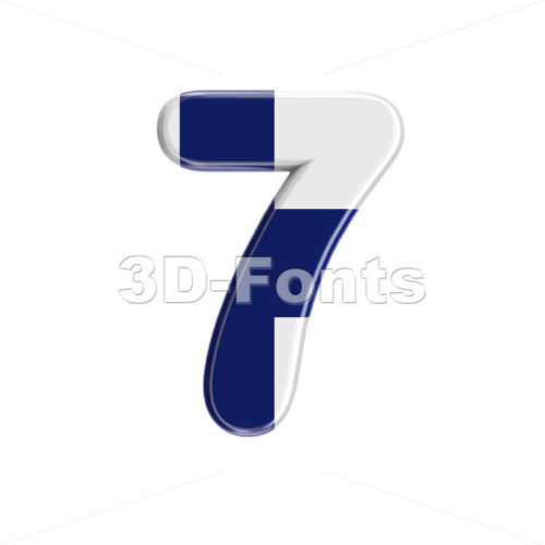 Flag of Finland digit 7 –  3d number – 3D Fonts Collections | Top Quality Letters, Numbers and Symbols !